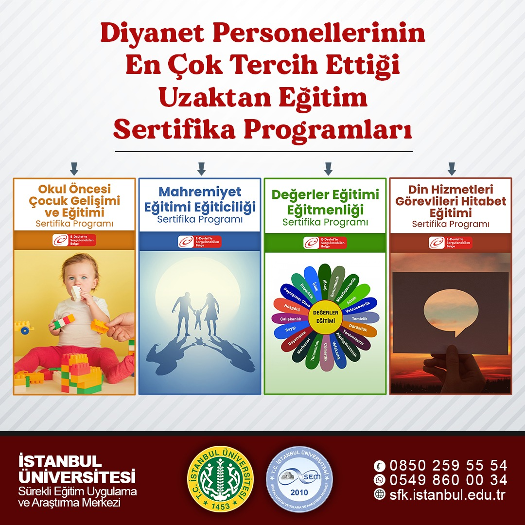 İstanbul Üniversitesi, Diyanet Personellerin En çok Tercih Ettiği Sertifika Programları